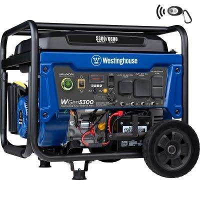 WGen5300 6,600/5,300 Watt Gas Powered Portable Generator with Remote Start and Transfer Switch Outlet for Home Backup