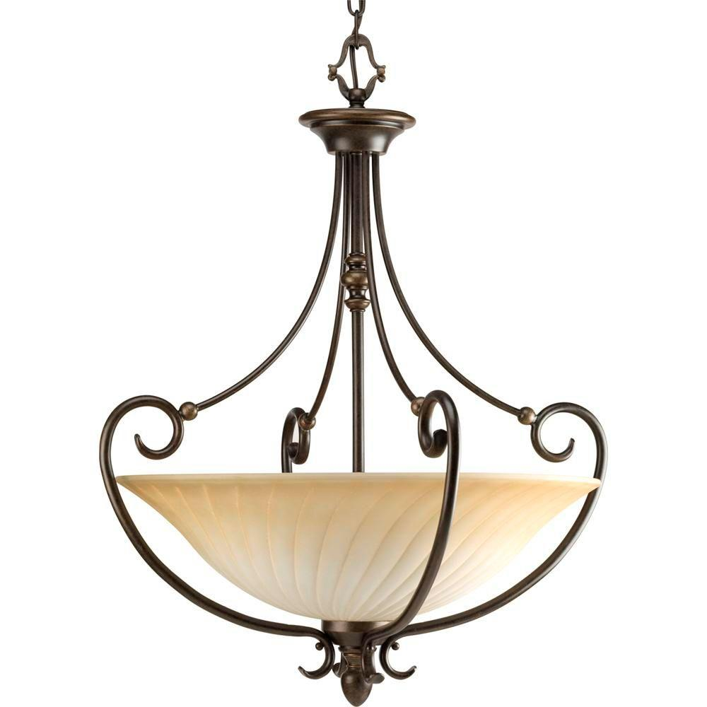 Kensington Collection 3-Light Forged Bronze Foyer Pendant with Frosted Caramel