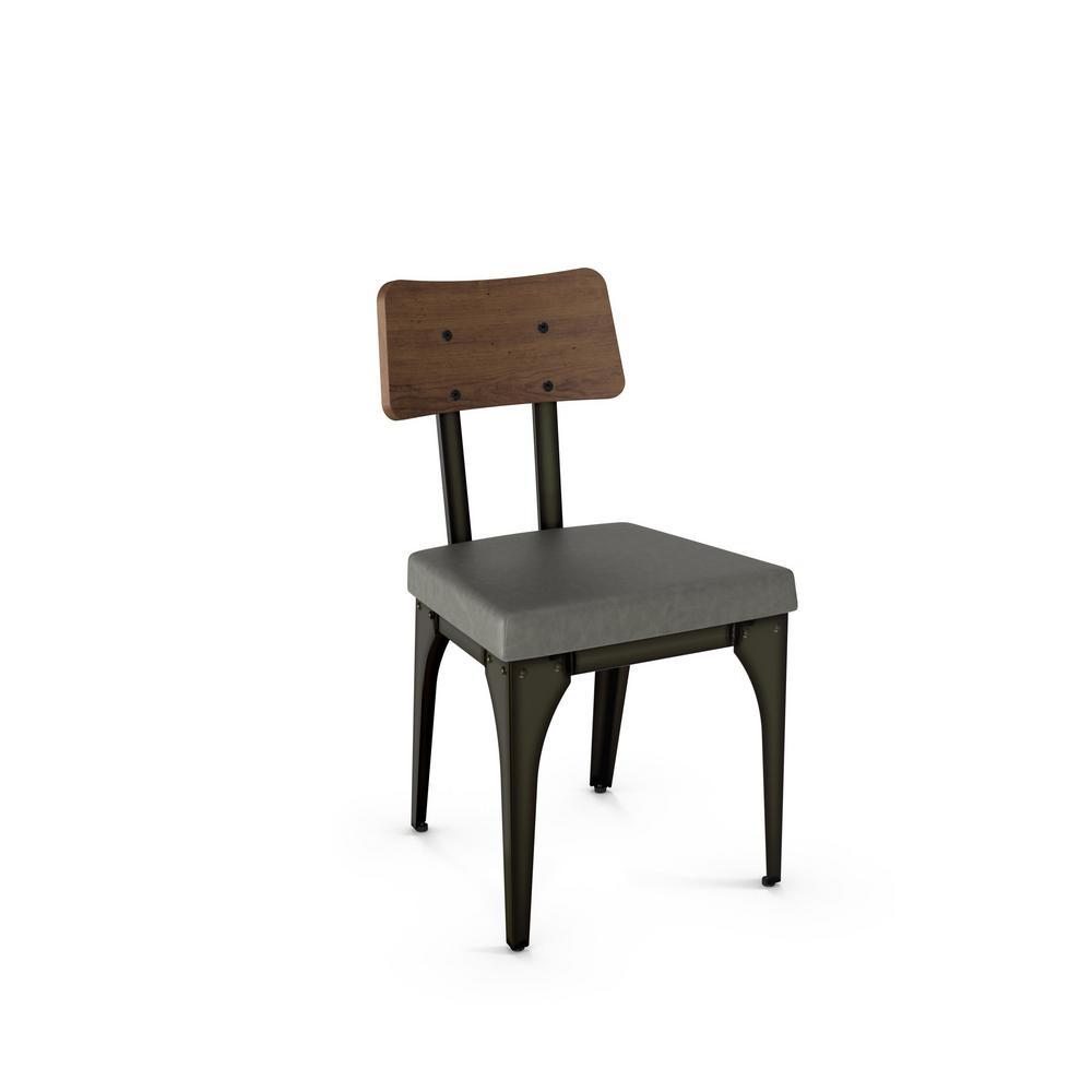 Symmetry Semi Transpa Metal Grey Cushion Brown Wood Dining Chair Set Of 2