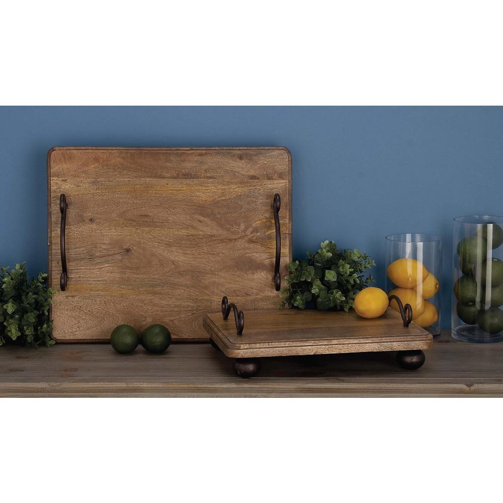 Decorative Wood and Iron Serving Tray with Mustache Handles (Set of