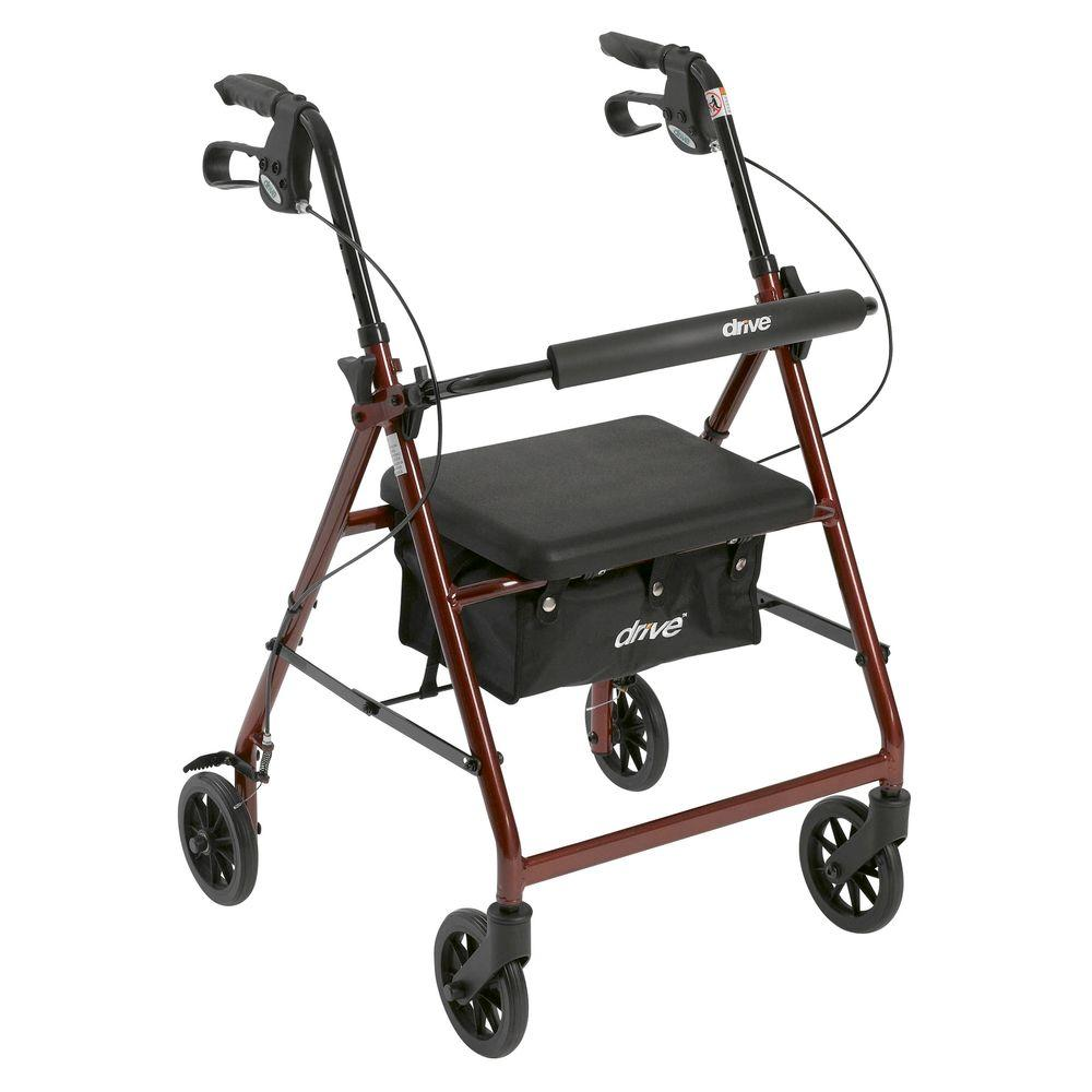 Drive 4 Wheel Rollator Walker With Removable Folding Back