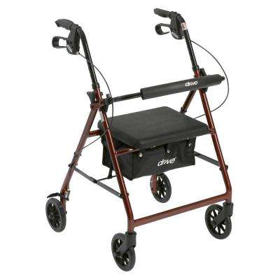 4-Wheel Rollator Walker with Removable Folding Back Support and Padded Seat in Red