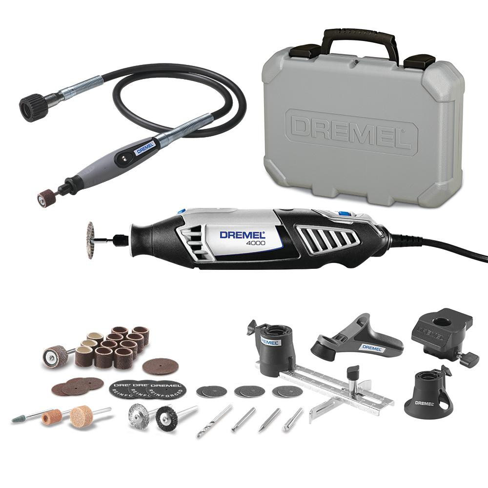 Dremel 32 in. Flex-Shaft Attachment for Rotary Tools Plus 4000 Series 1.6 Amp Variable Speed Corded Rotary Tool Kit