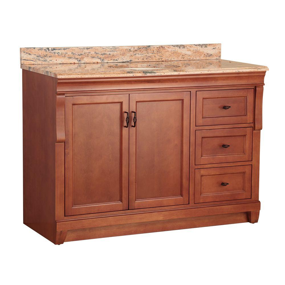 Foremost Naples 49 in. W x 22 in. D Vanity in Warm Cinnamon with Vanity Top and Stone Effects in Bordeaux