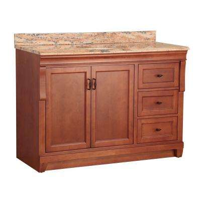 Naples 49 in. W x 22 in. D Vanity in Warm Cinnamon with Vanity Top and Stone Effects in Bordeaux