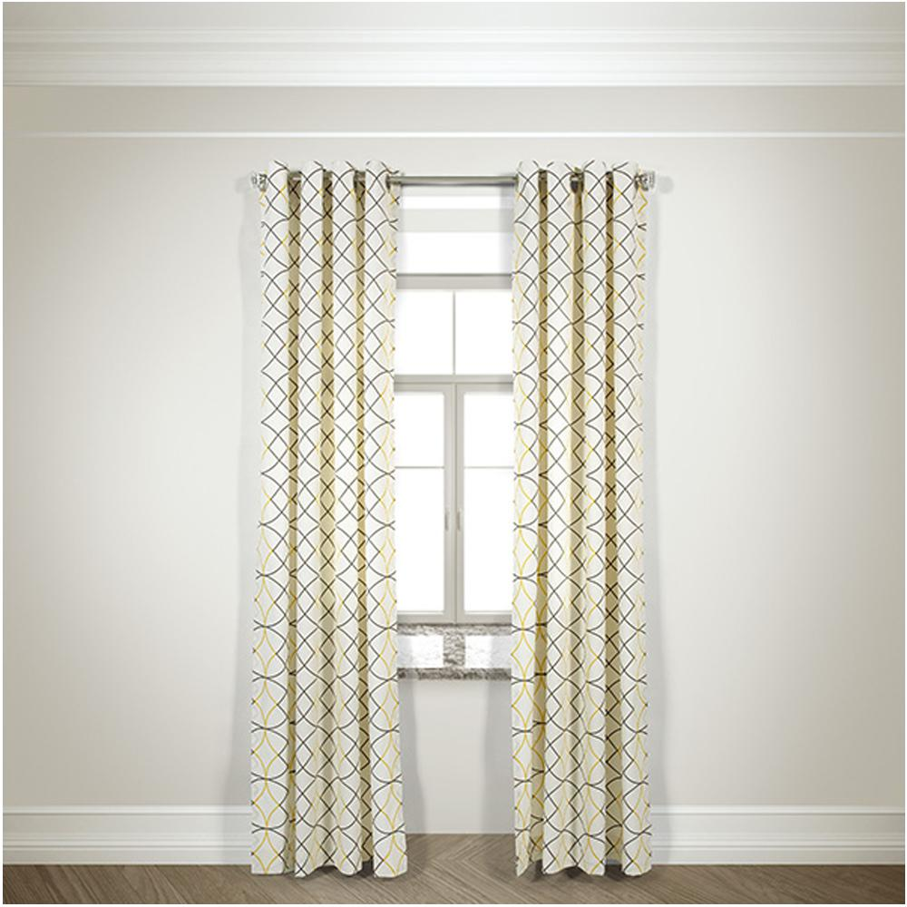 Semi-Opaque Della Gray/Yellow Cotton and Polyester Half Panama Curtain - 50
