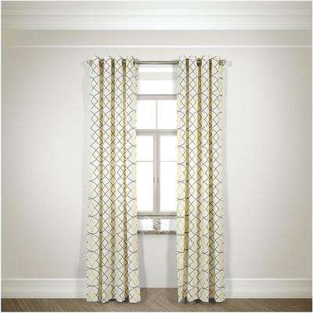 Semi-Opaque Della Gray/Yellow Cotton and Polyester Half Panama Curtain - 50 in. W x 84 in. L