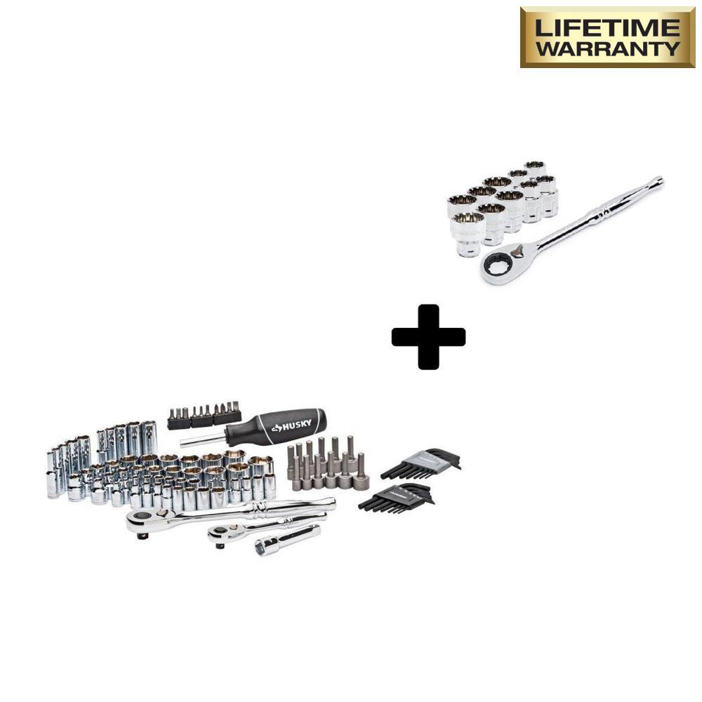 Mechanics Tool Set (92-Piece) with 3/8 in. Drive Pass-Thru Starter Set (11-Piece)
