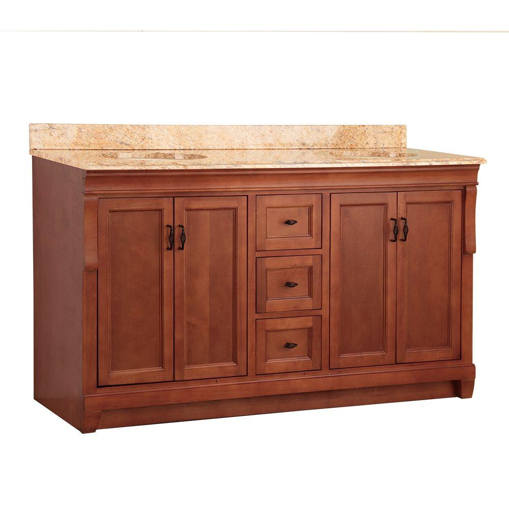 Home Decorators Collection Naples 61 in. W x 22 in. D Double Sink Vanity in Warm Cinnamon with Vanity Top and Stone Effects in Tuscan Sun