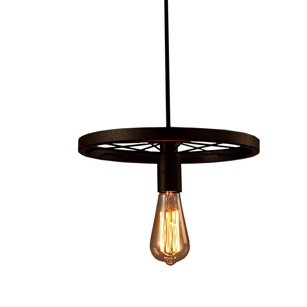 Akiko 1-Light Antique Bronze Edison Chandelier with Bulb