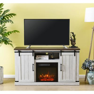 54 in. Saw Cut-Off White TV Stand for TVs up to 60 in. with Electric Fireplace