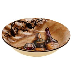 Tuscan View Beige Pasta and Salad Serving Bowl by