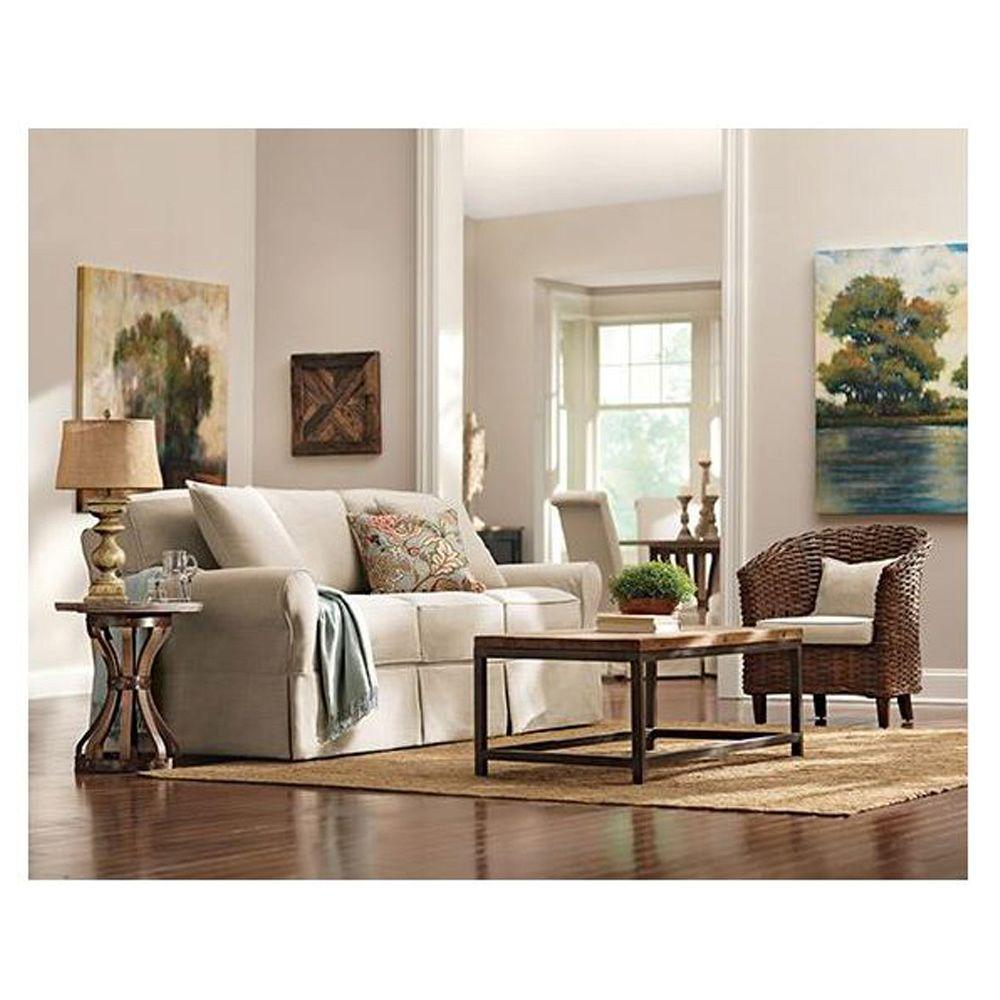 home decorators collection mayfair pearl linen fabric sofa 1640010870 the home depot. Black Bedroom Furniture Sets. Home Design Ideas