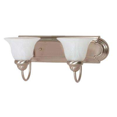 Ballerina 18 in. 2-Light Brushed Nickel Vanity Light with Alabaster Glass