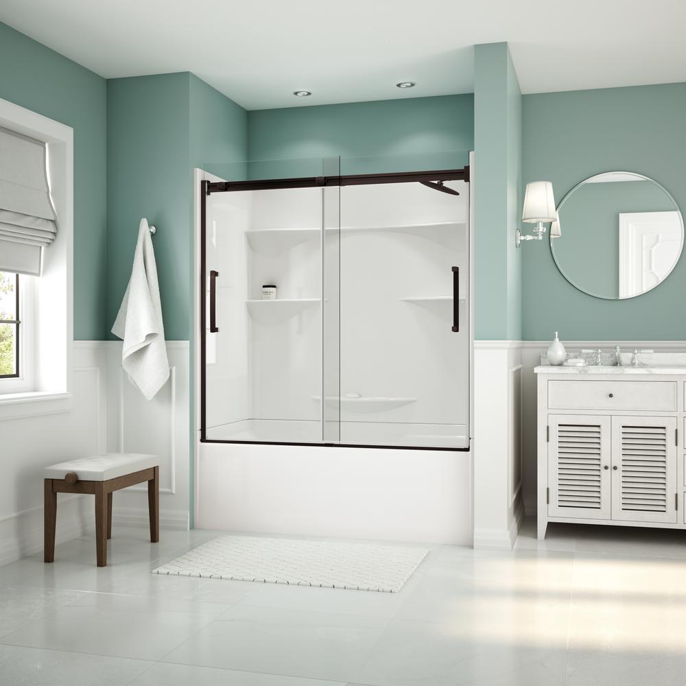 Artesia 56 in. - 59 in. x 59 in. Frameless Sliding Tub Door in Dark Bronze