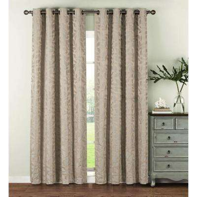 Semi-Opaque Alpine Textured Woven Leaf Jacquard Grommet Curtain Panel