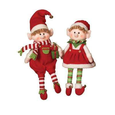 S/2 Asst 17.5 in. H Plush Elves