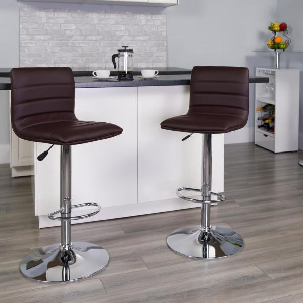 Flash Furniture Adjustable Height Brown Cushioned Bar Stool CH920231BRN