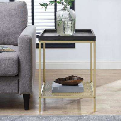 18 in. Graphite/Gold Square Wood Side Table with Lower Mesh Shelf