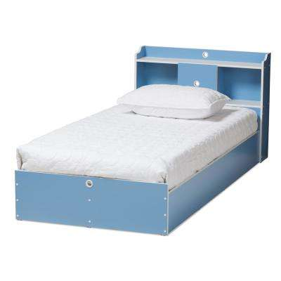 Aeluin Blue and White Twin Platform Bed