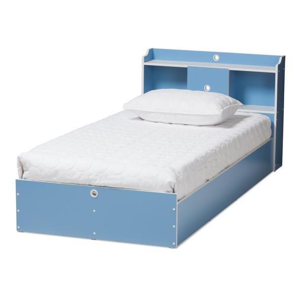Baxton Studio Aeluin Blue and White Twin Platform Bed 146-8286-HD