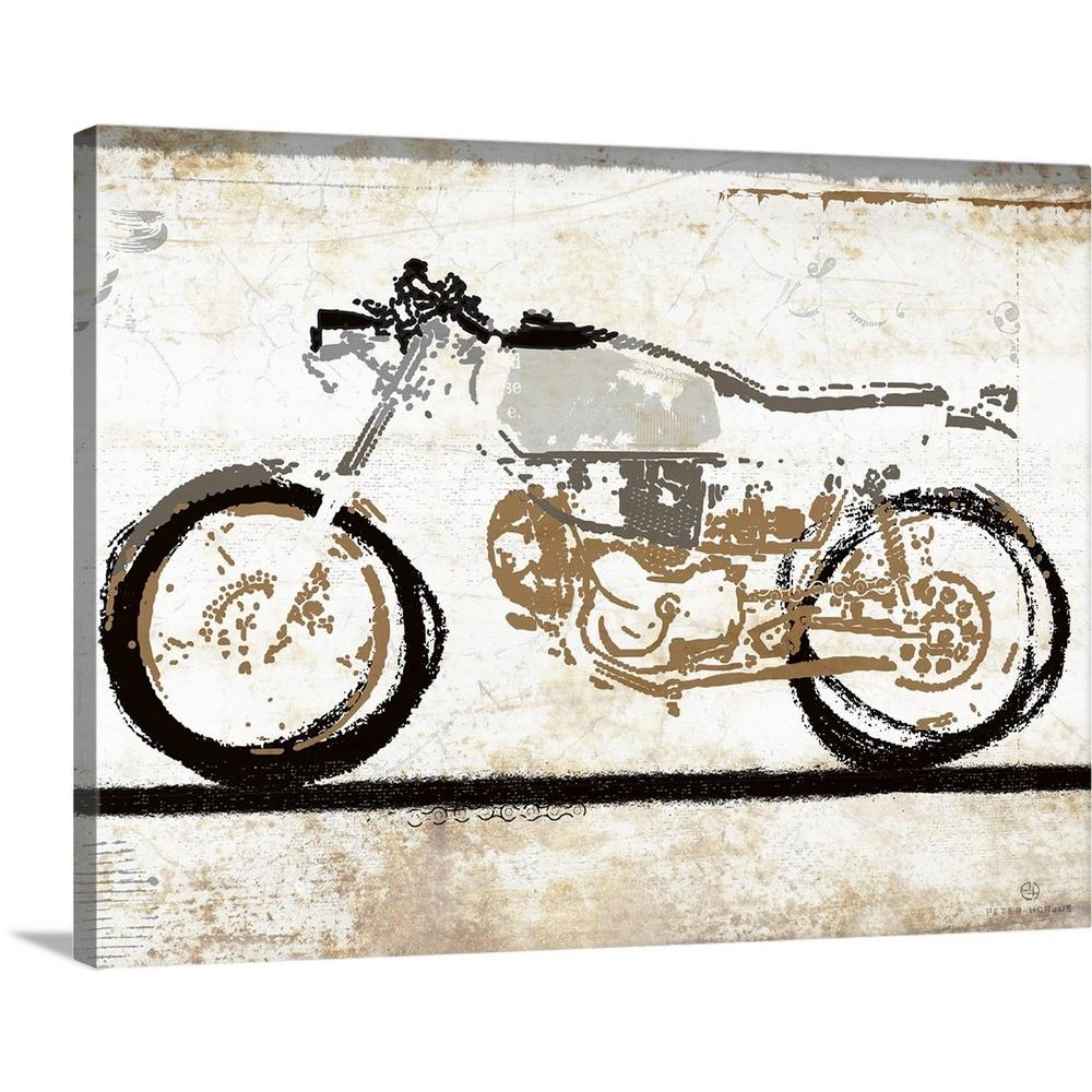 Vintage motorcycle 1 by peter horjus canvas wall art