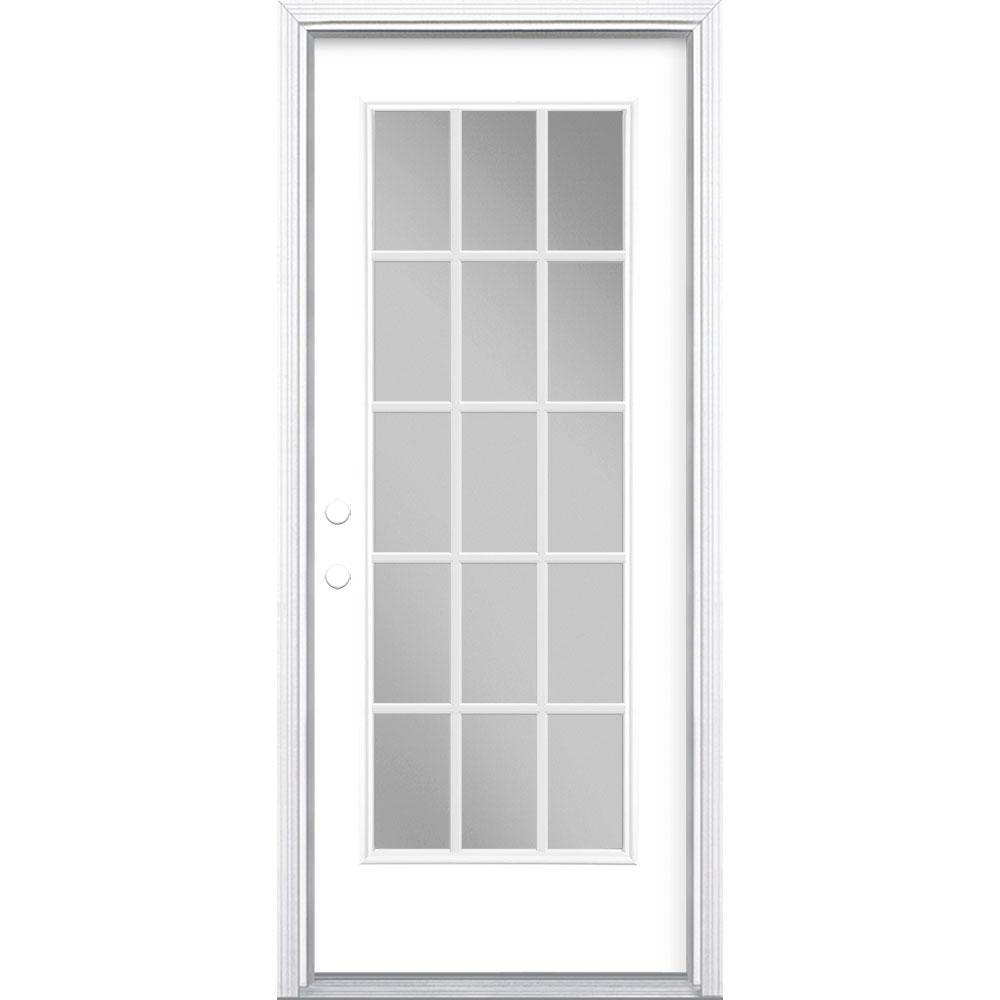 Masonite 32 in. x 80 in. Ultra White 15 Lite Right-Hand Clear Glass Painted Steel Prehung Front Door Brickmold/Vinyl Frame