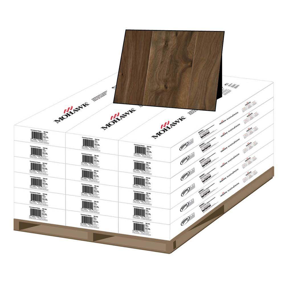 Mohawk Natural Walnut 3/8 in. x 5-1/4 in. x Random Length Soft Scraped Engineered Uniclic Hardwood Flooring (405 sq.ft./pallet)