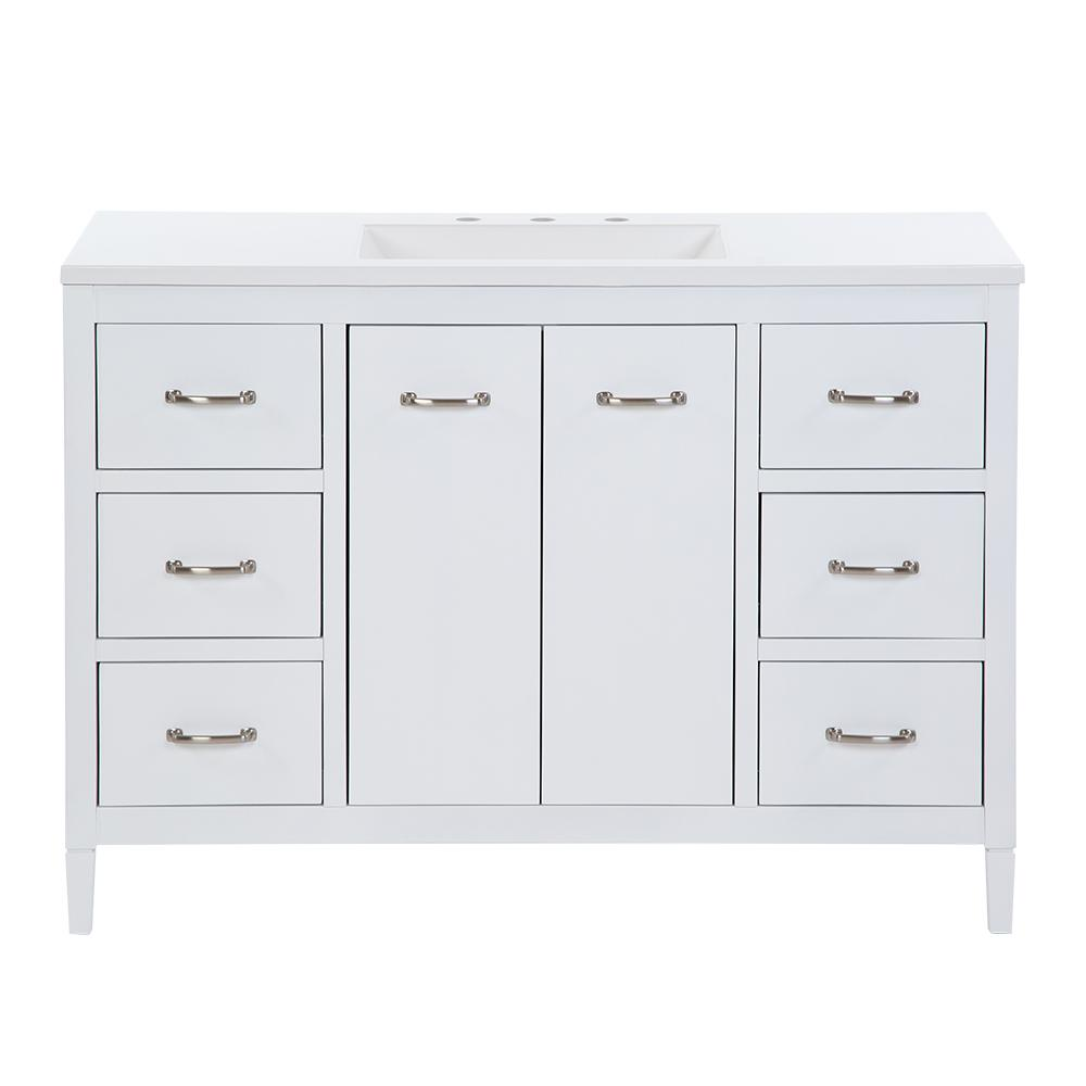 Marrett 48.25 in. W x 18.75 in. D Bath Vanity in White with Cultured Marble Vanity Top in White with White Sink