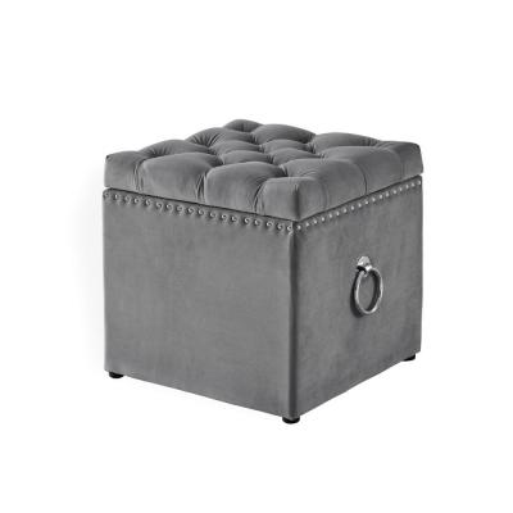 Micella Grey/Chrome Velvet Nailhead Trim Cube Storage Ottoman