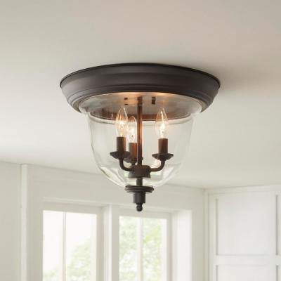 3-Light Bronze Flush Mount Ceiling Light with Clear Glass