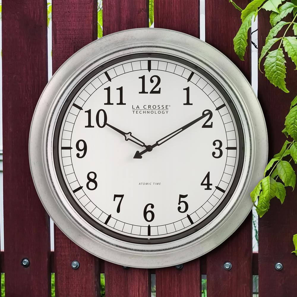 18 in. Galvanized Indoor/Outdoor Atomic Analog Wall Clock