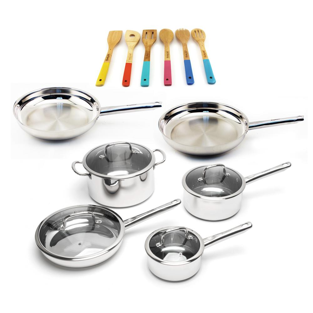 EarthChef 16-Piece Stainless Steel Cookware Set with Wooden Utensils
