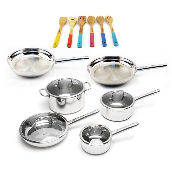 BergHOFF EarthChef 16-Piece Stainless Steel Cookware Set with Wooden Utensils