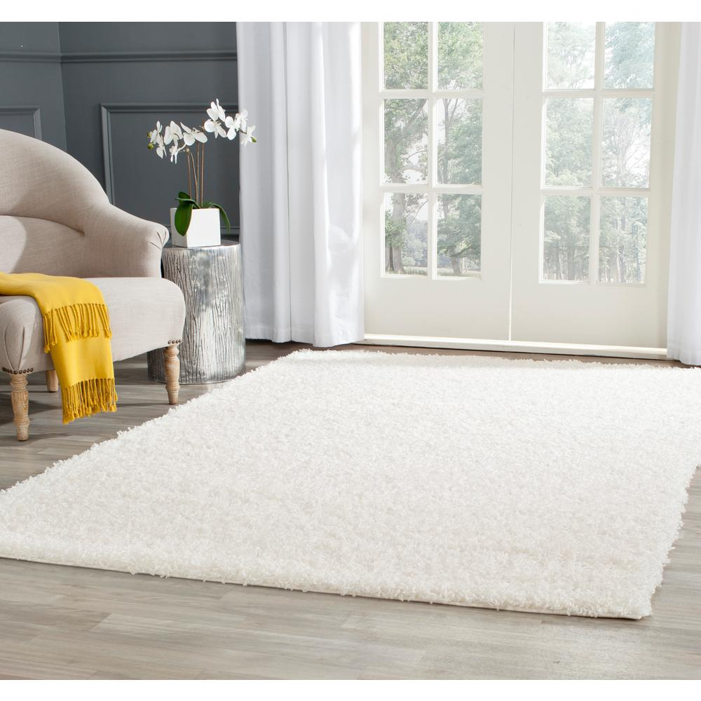 Safavieh Athens Shag White 4 ft. x 6 ft. Area Rug
