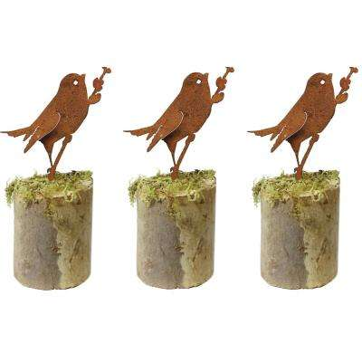 6 in. Tall Metal Rustic Look Artwork Bird on Willow Silhouettes (Set of 3)