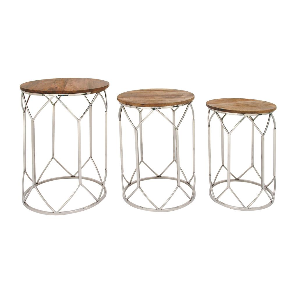 Set of 3 Mango Wood and Metal Round Tables (3-Pack)
