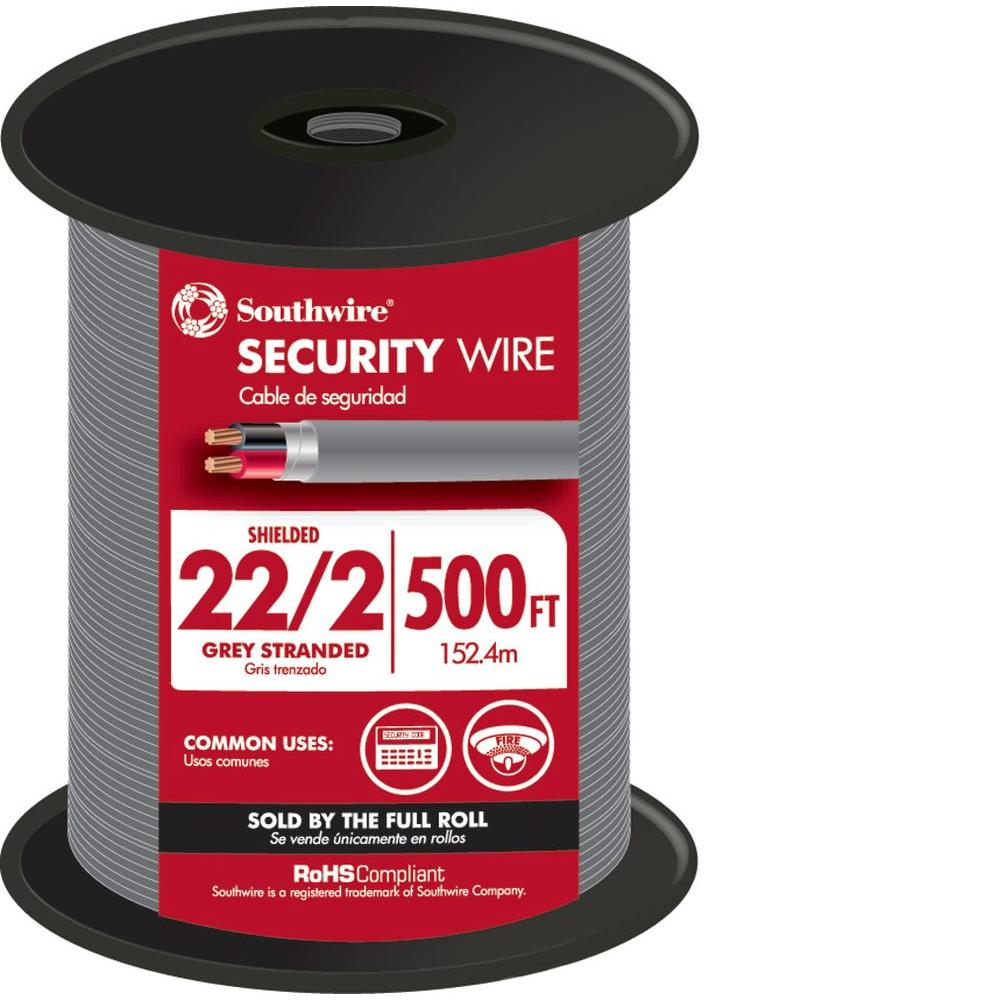 Southwire 500 ft. 22/2 Gray Stranded CU CL3R Shielded Security Cable