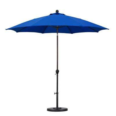 9 ft. Fiberglass Push Tilt Patio Umbrella in Pacific Blue Polyester