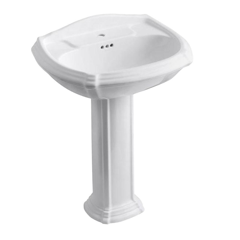 Portrait Vitreous China Pedestal Bathroom Sink Combo in White with Overflow