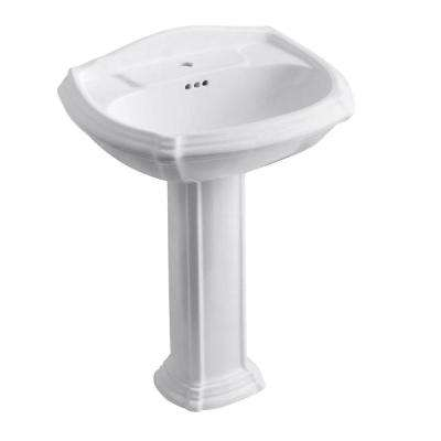 Portrait Vitreous China Pedestal Bathroom Sink Combo in White with Overflow Drain