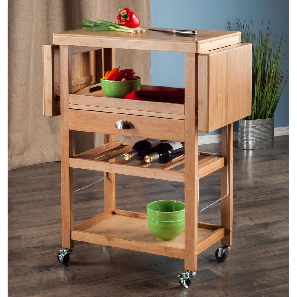 Winsome Wood Barton Bamboo Kitchen Cart With Drop Leaf