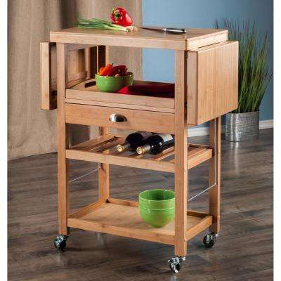 Barton Bamboo Kitchen Cart With Drop Leaf
