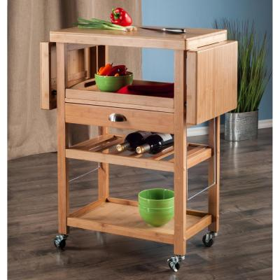 Barton Natural Kitchen Cart with Drop Leaf