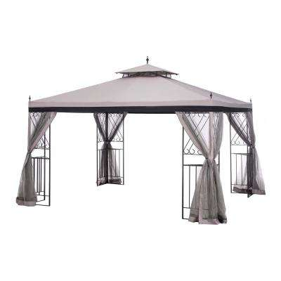 12 ft. x 10 ft. Light Brown Stee Parlay Gazebo with Netting