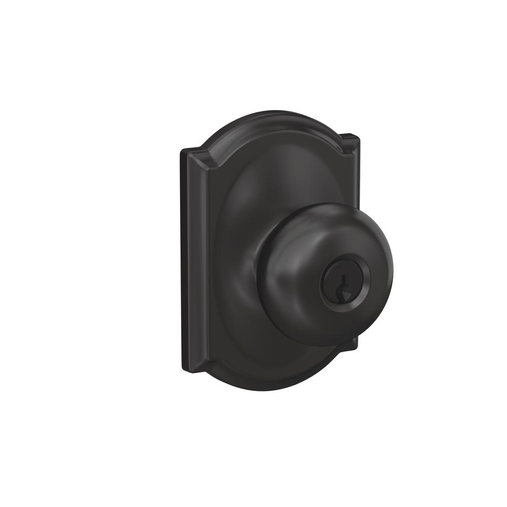 Schlage Plymouth Matte Black Keyed Entry Door Knob with Camelot Trim