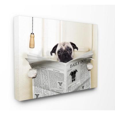 """30 in. x 40 in. """"Pug Reading Newspaper in Bathroom"""" by In House Artist Printed Canvas Wall Art"""