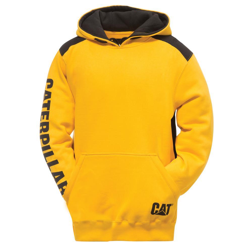 Caterpillar Logo Panel Men's Size 4X Large Yellow CottonPolyester Hooded Sweatshirt