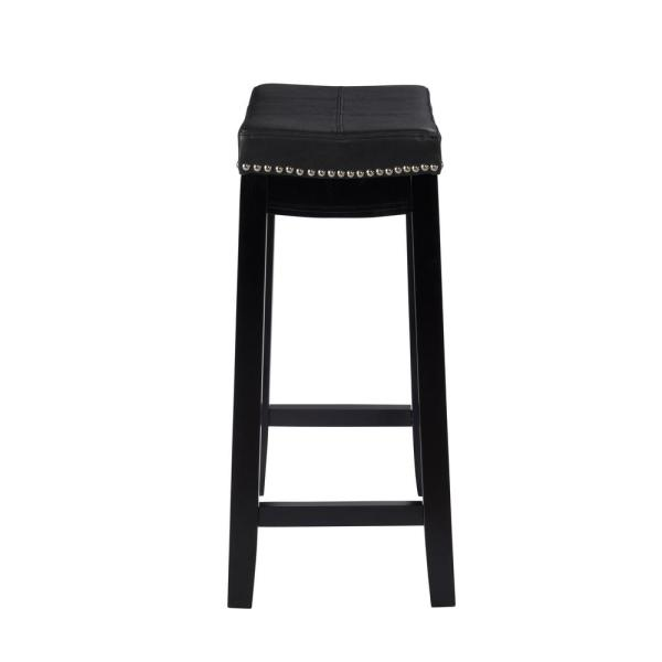 Linon Home Decor Claridge 26 In Black Cushioned Counter Stool 55815blk01u The Home Depot