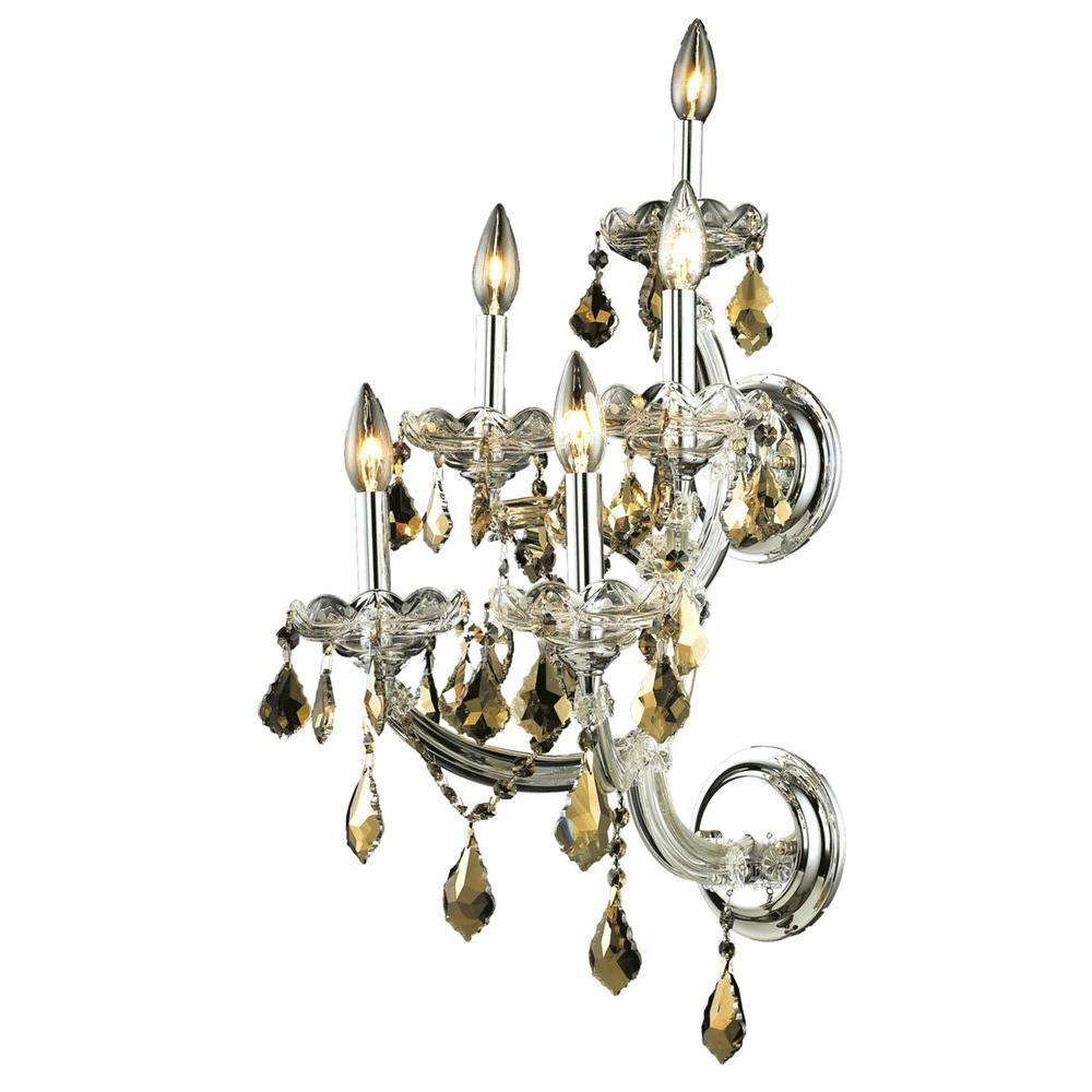 Elegant Lighting 5-Light Chrome Sconce with Golden Teak Smoky Crystal